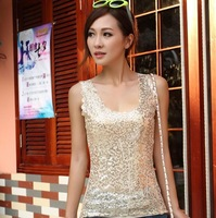 Free Shipping 2014 New Arrive Women Sleeveless T Shirts Ladies Sparkling Bling Tank Singlets Sequined Tops Female Blouse WC0326
