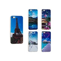 Landscape Scene Pattern Various Colors OEM/ODM AGC Tempered Glass Screen Protector for iPhone 5/Backside DHL free shipping