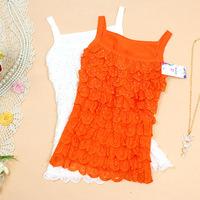 Women's small sweet lace patchwork cotton slim basic ladies spaghetti strap vest tank tops WTP0066