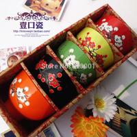 5 PCS 4.5 inch  ceramic bowl rice bowl soup bowl colorful bowls dinnerware gift set+Free shippng