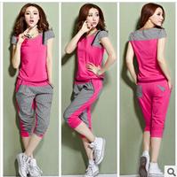 Free shipping new 2104 M-3XL summer women t-shirt short sleeve o-neck plaid 4 colors casual sport suit women