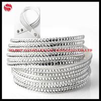 100pcs/lot handmade velvet slake bracelet with bling rhinestone wrap leather bracelet and bangle for woman