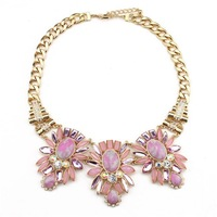 Summer high quality 2014 fashion new design JC jewelry flower pink resin rhinestone necklace for women