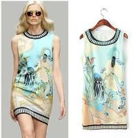 Brand New desigual Fashion Vintage Summer Women Printed Dresses Casual Ladies High Street Vestidos 2014