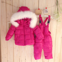 2014 Russia Children's winter clothing set  girl Ski suit sport sets windproof flower warm coats fur Jackets+bib pants+wool vest