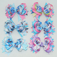 "Free Shipping 12 Pcs/lot 5"" Baby Ribbon Hair Bow,Frozen Hair Bow For Baby,Boutique Frozen Hair Bow,Children Hair Accessories"
