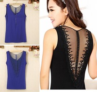 2014 Brazil style sexy sleeveless V-shaped lace hollow out back Tank tops for girls ladies  Modal blusa para chicas w/ 7 colors