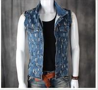 BO-31 free shipping Spring Autumn men jean vest denim vest men fashion Casual slim male vest sleeveless jacket