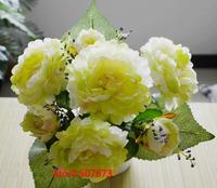 10pcs/lot 7 Flowers head  Big bunch peony flower Silk Head Artificial Flowers Wedding party Flower family decorates flower FH005