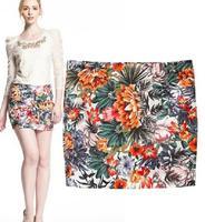 Pencil Skirt Saias Femininas Tropical None Casual Jungle Print Package Hip Slim Skirts Women Clothing 2014 New Wear Hot Sale