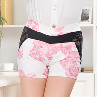 Womens summer all match strectchy floral sequined mini above-knee shorts w/ pockets  girls elastic short pants w/ 5 colors
