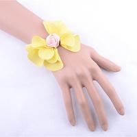 Big yellow flower costume jewelry bracelets women hand bracelets black bracelet with ring fashion jewelry free shipping