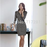 Hot Sale! New 2014 Fashion Korean Slim package hip plaid long-sleeved dress Free Shipping      S  M  L  XL  XXL      q4576
