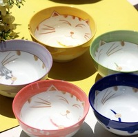 New !!!4PCS 5 inch Lucky cat bowl 5-color ceramic bowl japanese style dinnerware gift set +Free shipping