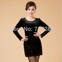 Hot Sale! New 2014 Fashion Mom Korean yards Slim gold velvet long-sleeved dress Free Shipping  L XL 2XL 3XL      q4577