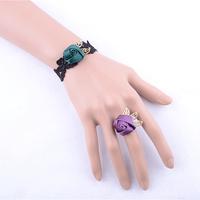 Leaves lace black gold bangle latest design women hand bracelets wedding return gift fashion jewelry free shipping