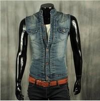 BO-36 2014 spring summer motorcycle vest men jean vest mens denim vest fashion Casual slim Sleeveless jacket male vest
