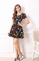 The new summer 2014 temperament show slender waist temperament melting dot design dress Women dress