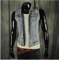 BO-37 new 2014 Spring summer Slim motorcycle vest men jean vest mens denim vest sleeveless jacket hip hop Punk sports
