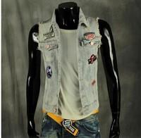 BO-38 fashion thin men jean vest Slim motorcycle vest clothing mens denim vest sleeveless jacket new 2014 fashion casual punk