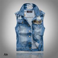 New 2014 plus size summer Fashion Trend Slim men's clothing Male denim vest Jeans vest sleeveless jacket mens denim vest