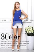 Double Hit Color Sleeveless Chiffon Shirt Irregular Women Chiffon Blouse
