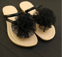 2014 new summer sandals shoes flower flat flat with students SANDALS BLACK SANDALS sandals tide
