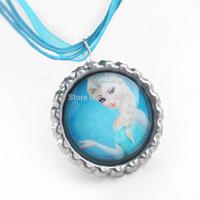 Hot Sell Elsa Pendants Blue Ribbon Necklace Frozen Necklace fit Women Dress Decoration Free Shipping