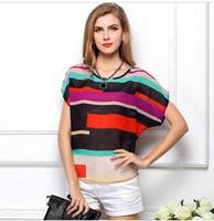 Shirt Perspective Loose Plus Size Women Irregular Colorful Striped Chiffon Blouse