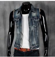 BO-39 2014 new spring summer Slim men jean vest motorcycle vest fashion man jacket vests men clothing jeans vest male