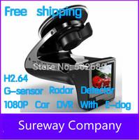 "New HD 1080p 2.0"" Speed Radar Detector Car DVR SH818 Edog Black Box Car Camera G-sensor P0011360 Free Shipping Wholesale"