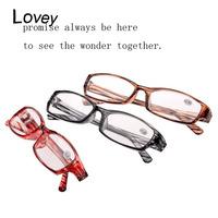 Lovey new plastic reading glasses unisex women men resin lens presbyopic magnifier stripe frame multi color grey red wholesale