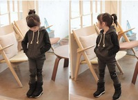 5set/lot wholesale hooded sweater pant kids clothes 2pcs set boy gril clothes active sets child clothing PU patchwork