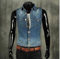 BO-45 2014 spring summer mens denim vest jean vest motorcycle vest  jeans vest men jeans jacket casual sleeveless jacket fashion