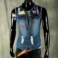 BO-42 new 2014 men jean vest Hole vintage fashion brand mens denim vest sleeveless jacket clothing male vest motorcycle vest