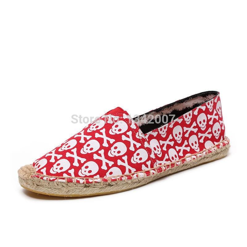 Crânio moda Alpargata sapatas de lona deslizar sobre alpercatas apartamentos dos homens Boho sapatos pescador(China (Mainland))