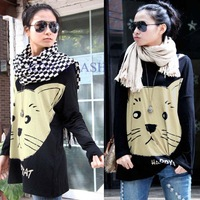 2014 Korea Women's Plus Size Tops Batwing Sleeve Cat Print Stretchy Loose Shirt Blouse Cotton T Shirt Black/White SV000393 B2
