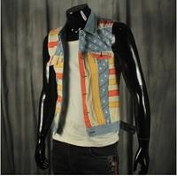 BO-43 new 2014 spring summer men jean vest sleeveless jacket fashion Casual motorcycle vest hip hop punk outdoors sport