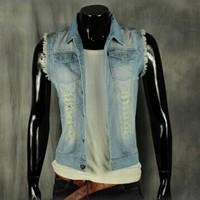 BO-44 2014 spring summer Slim fashion Casual men jean vest motorcycle vest hole sleeveless jacket men jeans jacket