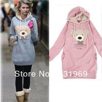 2013 Fashion  women's hoodie coats, Casual lady sweatshirt,leisure lovely bear design 615