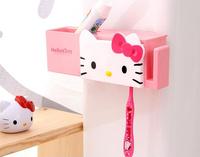 Kawaii Hello Kitty Sucked Type Toothbrush Holder Bathroom Shelves Multifunctional Organizer