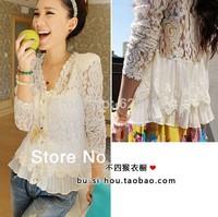 2014 Skinny Shoulder Pad Precious Mosaic Lace Shirt Cardigan White Blouse For Women Autumn Tops M L XL  YF1028