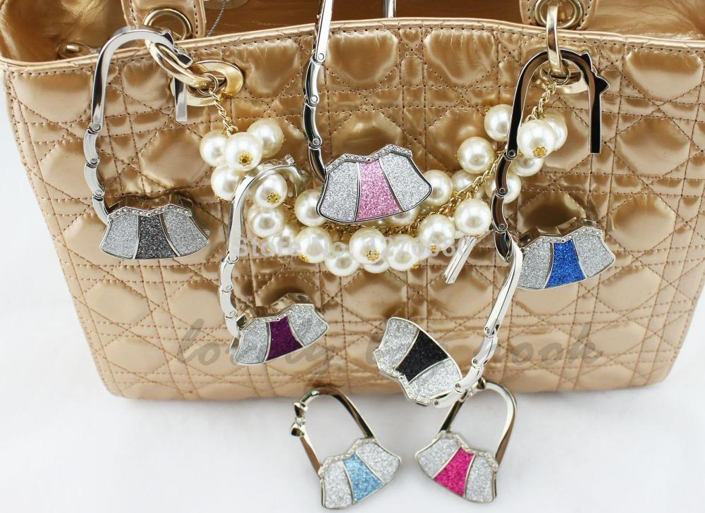 Fedex Free Shipping high quality color mixed shining glitter bag hanger handbag hook bag hanger hook(China (Mainland))