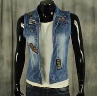 BO-48 2014 spring summer Autumn Plus size men jean vest new arrival Slim sleeveless jacket jeans jacket men outdoors sports
