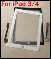 For iPad 3 Digitizer Glass For iPad 4 Original Touch Screen Black White for New iPad For iPad3/4 10pcs Free shipping