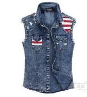 BO-50 new 2014 spring summer Autumn jeans vest Fashion Casual mens denim vest motorcycle vest brand hop hop sleeveless jacket