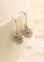 fashion earrings ear hook female elegant rhinestone ball 2014 decoration