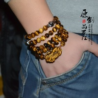 Natural yellow tiger eye pi xiu 108 male beads bracelet lucky apotropaic multi-layer bracelets