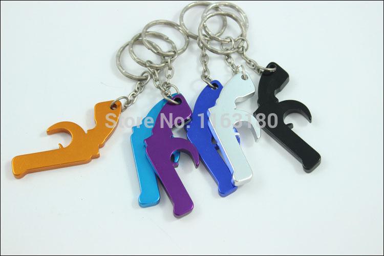 36 pcs/lot Revolver Gun Keyring / Bottle Opener - Metal Machine Gun Keychain Metal Pistol free shipping()