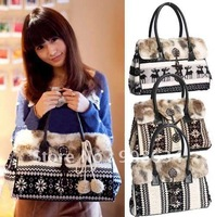 Lovely  Cartoon Pattern Fur Women Lady Girls Shoulder Purse Handbag Totes Bag